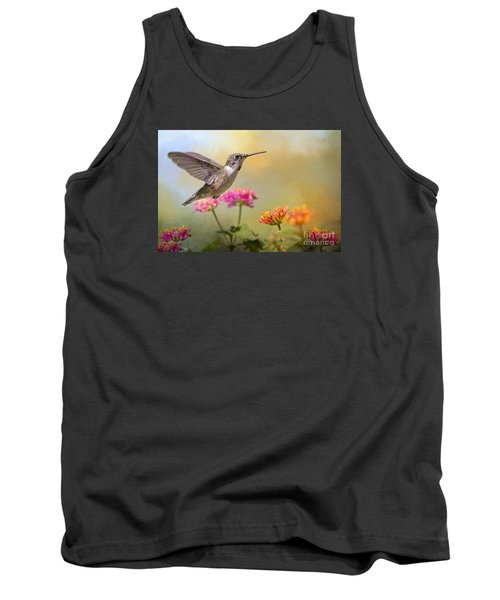Hummingbird In The Garden Tank Top by Bonnie Barry