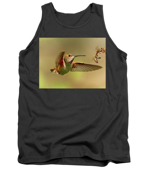 Hummingbird Vs. Bees Tank Top by Sheldon Bilsker