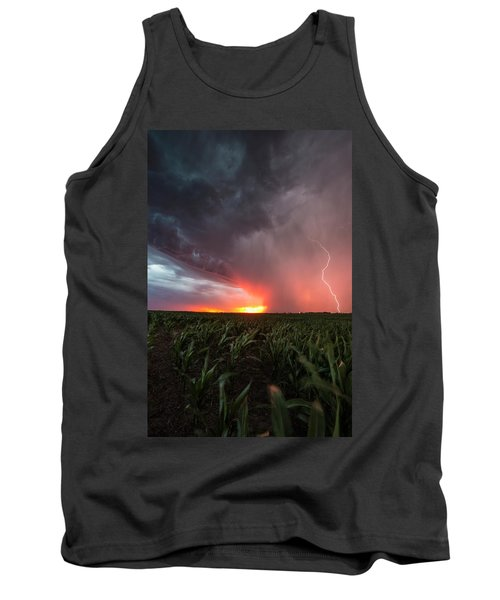 Tank Top featuring the photograph Huron Lightning  by Aaron J Groen