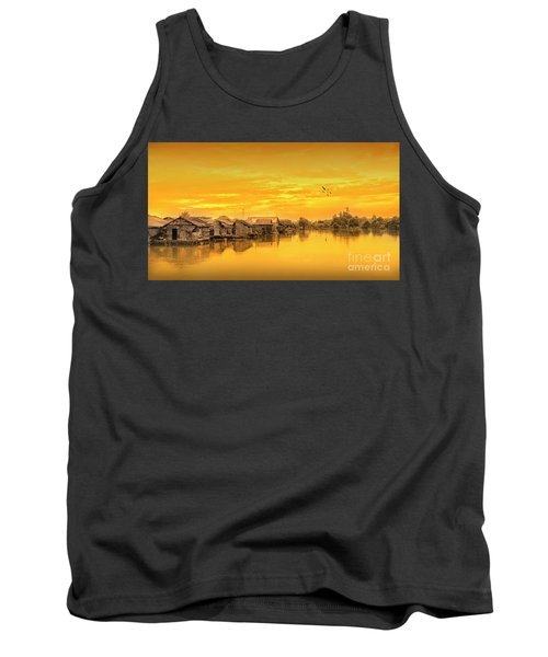 Tank Top featuring the photograph Huts Yellow by Charuhas Images