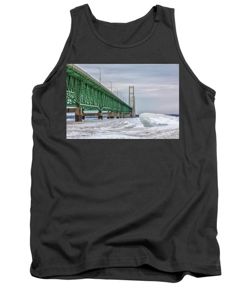 Tank Top featuring the photograph Ice And Mackinac Bridge  by John McGraw
