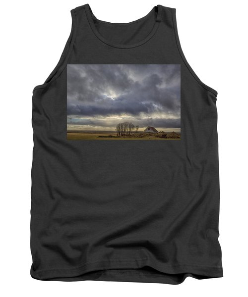 Tank Top featuring the tapestry - textile Iceland Buildings by Kathy Adams Clark