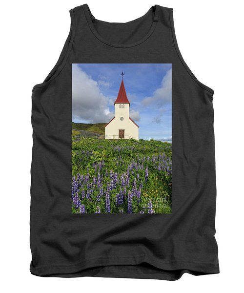 Tank Top featuring the photograph Icelandic Church Among The Fields Of Lupine by Edward Fielding