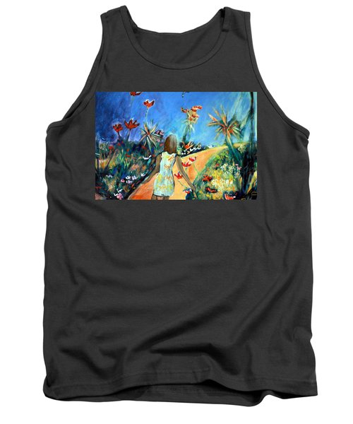 Tank Top featuring the painting In The Garden Of Joy by Winsome Gunning