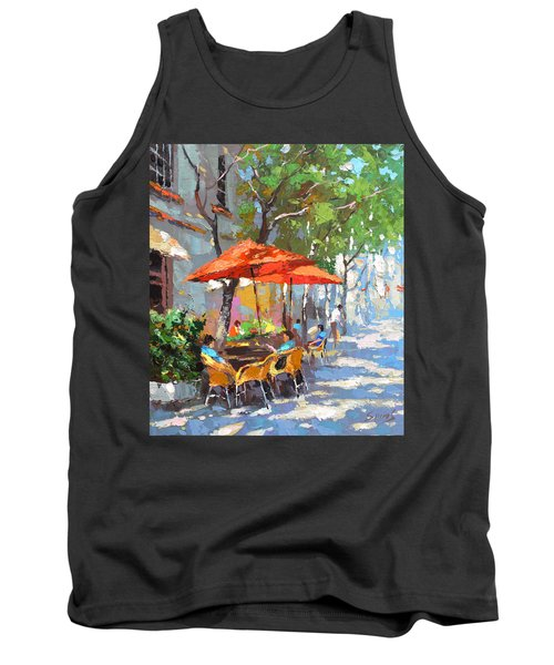 Tank Top featuring the painting In The Shadow Of Cafe by Dmitry Spiros