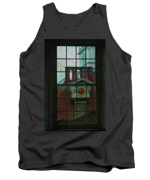 Tank Top featuring the photograph Independence Hall Through Congressional Window by Jeff Burgess