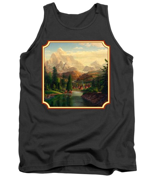 Indian Village Trapper Western Mountain Landscape Oil Painting - Native Americans -square Format Tank Top