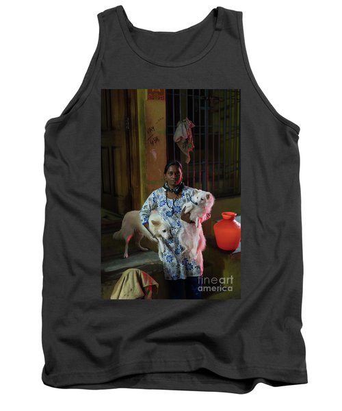 Tank Top featuring the photograph Indian Woman And Her Dogs by Mike Reid