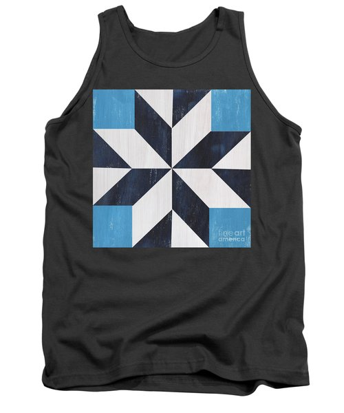 Tank Top featuring the painting Indigo And Blue Quilt by Debbie DeWitt