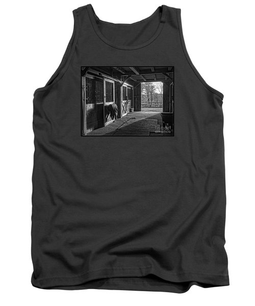 Tank Top featuring the photograph Inside The Horse Barn Black And White by Edward Fielding