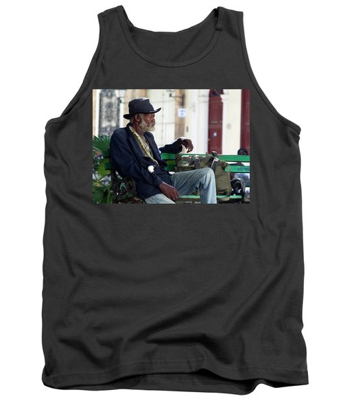 Tank Top featuring the photograph Interesting Cuban Gentleman In A Park On Obrapia by Charles Harden