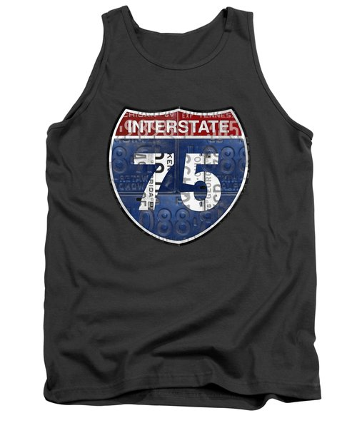 Interstate 75 Highway Sign Recycled Vintage License Plate Art On Striped Concrete Tank Top