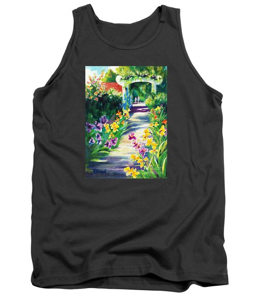 Tank Top featuring the painting Iris Garden Walkway   by Kathy Braud