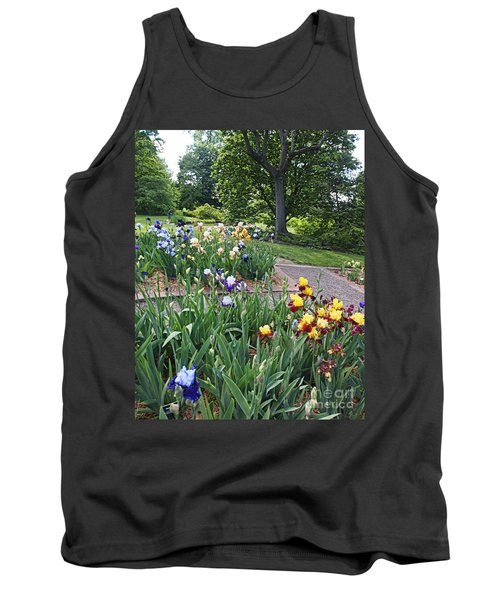 Tank Top featuring the photograph Iris With Trees by Nancy Kane Chapman
