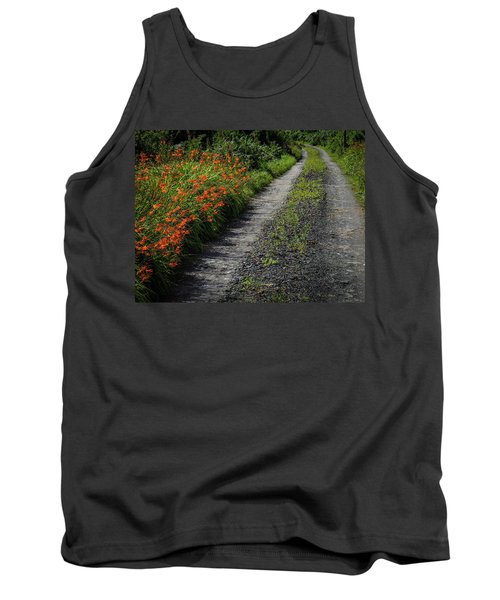 Tank Top featuring the photograph Irish Country Road Lined With Wildflowers by James Truett