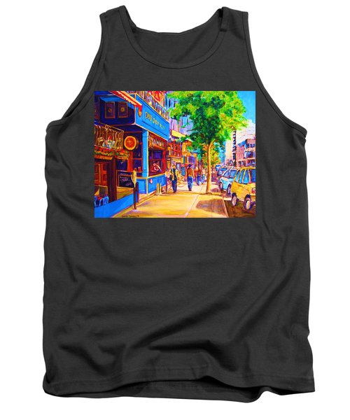 Tank Top featuring the painting Irish Pub On Crescent Street by Carole Spandau