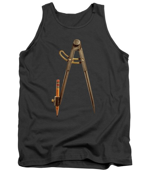 Iron Compass Back On Black Tank Top