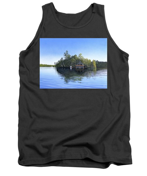Tank Top featuring the painting Island Boathouse Muskoka  by Kenneth M Kirsch