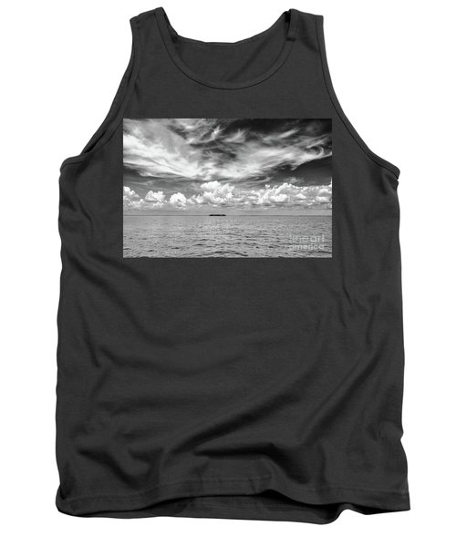 Island, Clouds, Sky, Water Tank Top