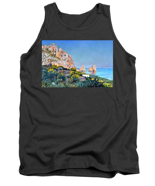 Tank Top featuring the painting Island Of Capri - Gulf Of Naples by Rosario Piazza