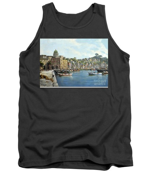 Tank Top featuring the painting Island Of Procida - Italy- Harbor With Boats by Rosario Piazza
