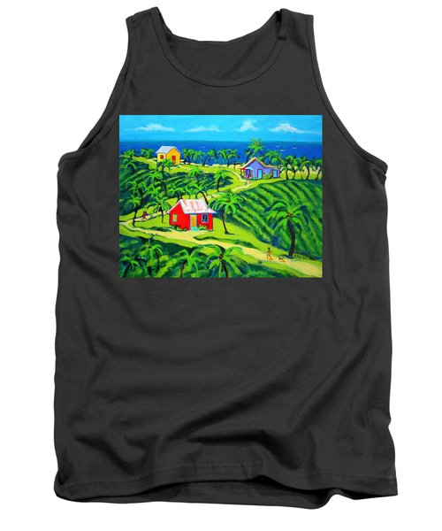 Island Time - Colorful Houses Caribbean Cottages Tank Top by Rebecca Korpita