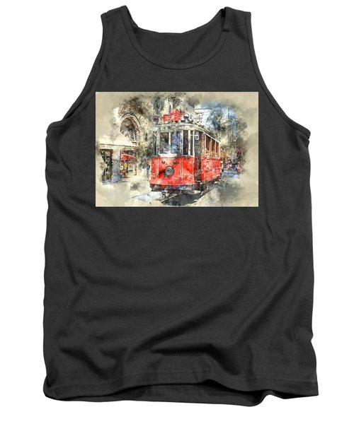 Istanbul Turkey Red Trolley Digital Watercolor On Photograph Tank Top