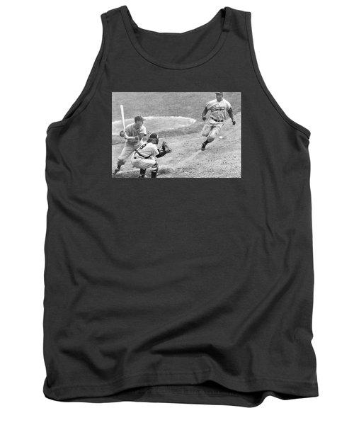 Jackie Robinson Stealing Home Yogi Berra Catcher In 1st Game 1955 World Series Tank Top