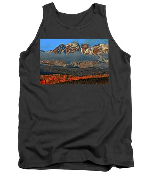 Tank Top featuring the photograph Jagged Peaks Fall by Scott Mahon