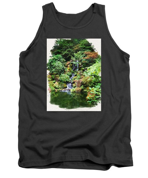 Japanese Garden Waterfall 2 Tank Top
