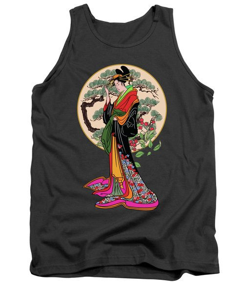 Japanese Girl With A Landscape In The Background. Tank Top by Andrzej Szczerski