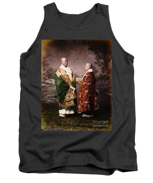 Tank Top featuring the painting Japanese Zen Buddhist Priests Circa 1880 by Peter Gumaer Ogden