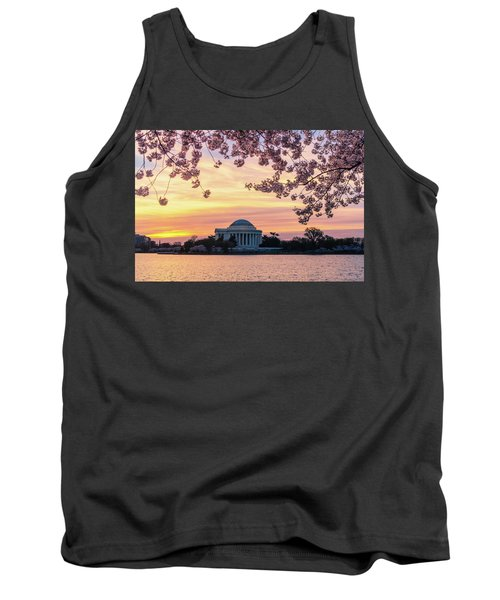 Jefferson Memorial At Sunrise With Blossoms Tank Top
