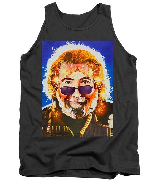 Tank Top featuring the painting Jerry Garcia-dark Star by Joshua Morton