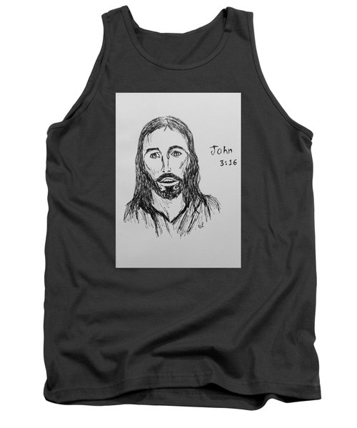 Tank Top featuring the drawing John 3 16 by Victoria Lakes