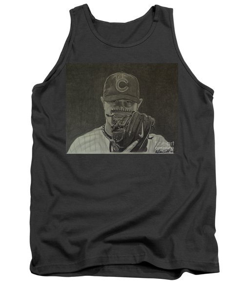 Tank Top featuring the drawing Jon Lester Portrait by Melissa Goodrich