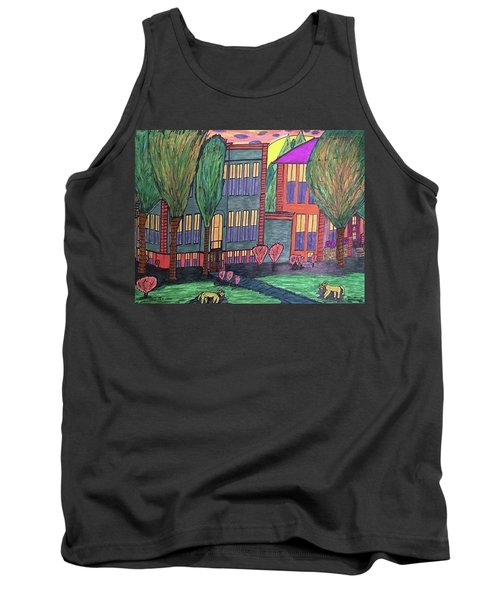 Tank Top featuring the drawing Jordan College West Drive Menominee by Jonathon Hansen