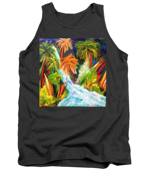 Tank Top featuring the painting Jungle Falls by Elizabeth Fontaine-Barr