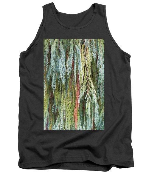 Juniper Leaves - Shades Of Green Tank Top by Ben and Raisa Gertsberg