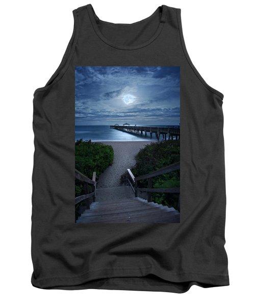 Juno Pier Stairs To Beach Under Full Moon Tank Top