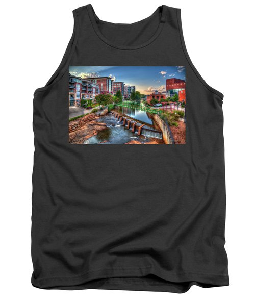 Just Before Sunset 2 Reedy River Falls Park Greenville South Carolina Art Tank Top