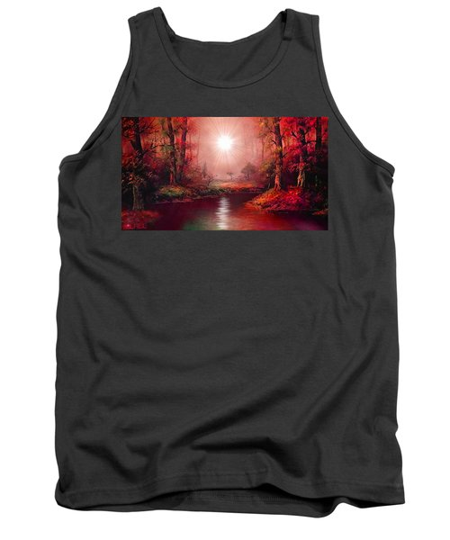 Tank Top featuring the painting Kaleidoscope Forest by Michael Rucker