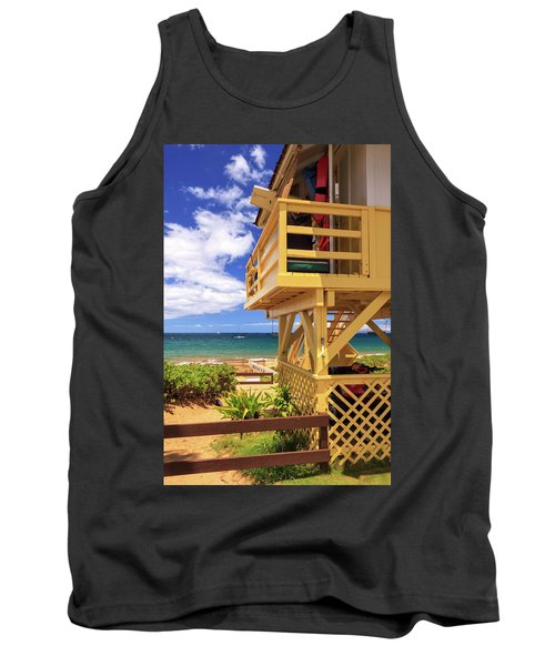 Tank Top featuring the photograph Kamaole Beach Lifeguard Tower by James Eddy
