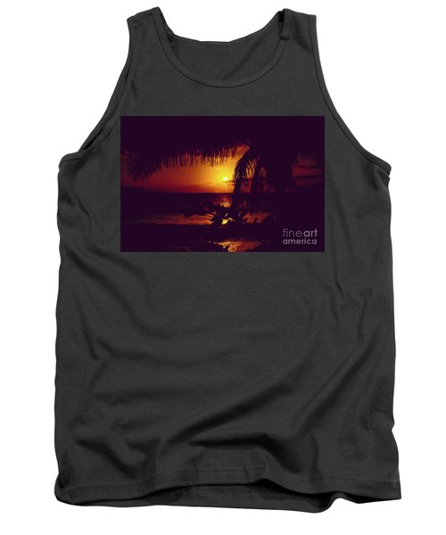 Tank Top featuring the photograph Kamaole Tropical Nights Sunset Gold Purple Palm by Sharon Mau