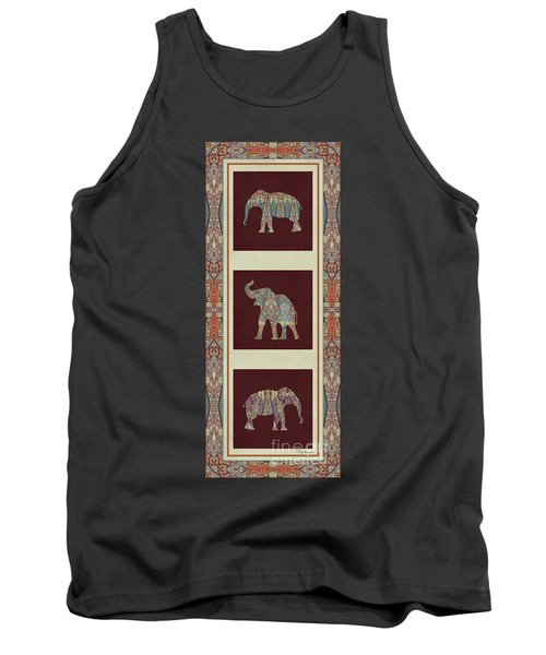 Kashmir Elephants - Vintage Style Patterned Tribal Boho Chic Art Tank Top by Audrey Jeanne Roberts