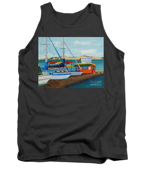 Tank Top featuring the painting Kayak Shack Morro Bay California by Katherine Young-Beck
