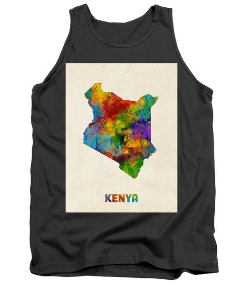 Tank Top featuring the digital art Kenya Watercolor Map by Michael Tompsett
