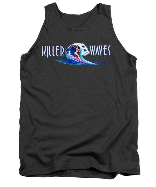 Killer Waves Skull Pink Tank Top