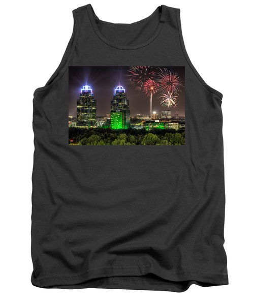 Tank Top featuring the photograph King And Queen Buildings Fireworks by Anna Rumiantseva