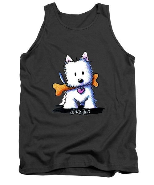 Kiniart Westie With Bone Tank Top